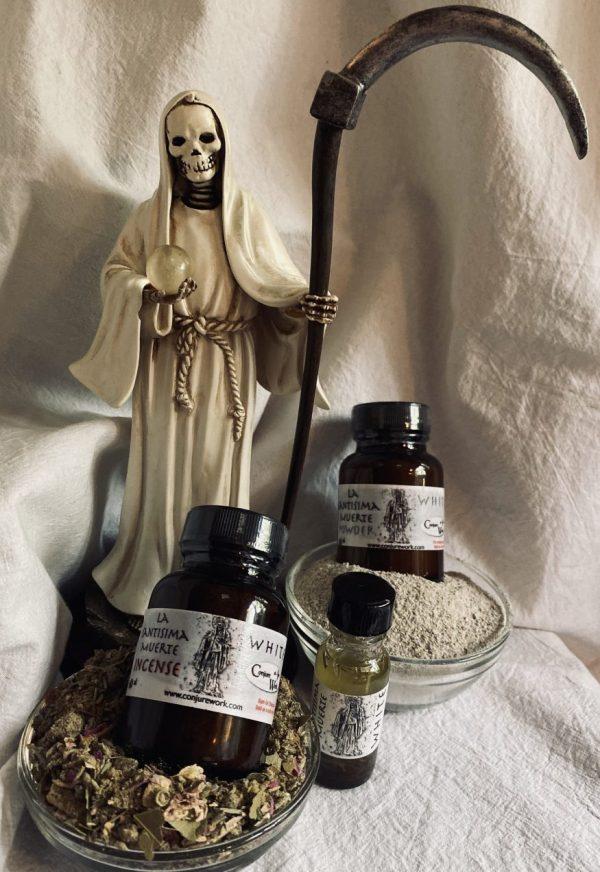 The La Santisima Muerte line, White Aspect, oil, powder, incense