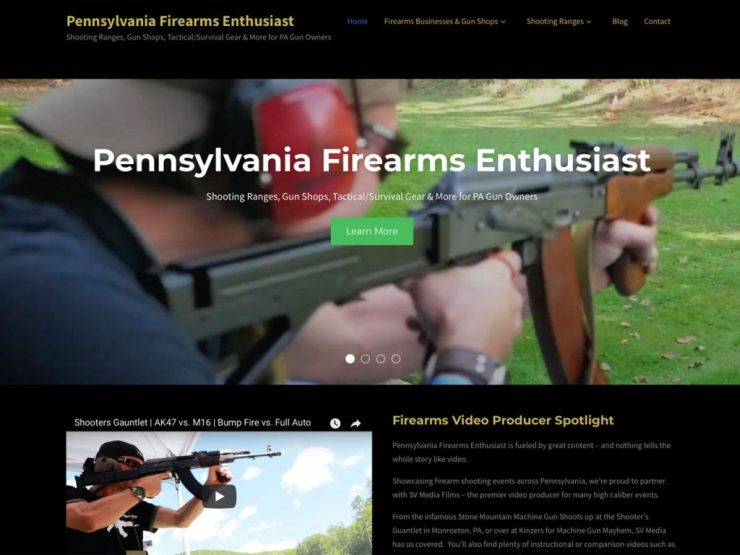 Pennsylvania Firearms Enthusiast Website Screenshot