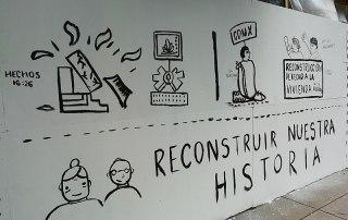 Murales en tapiales del Multifamiliar Tlalpan durante los trabajos de reforzarmiento y reconstrucción después del sismo del 19 de septiembre de 2017