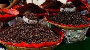 Chapulines en un mercado local de México