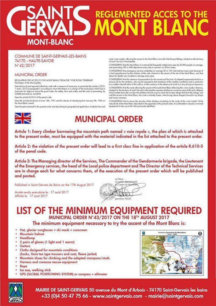 Orden Municipal del Ayto de Chamonix - Equipo Minimo y obligatorio para ascender al Montblanc