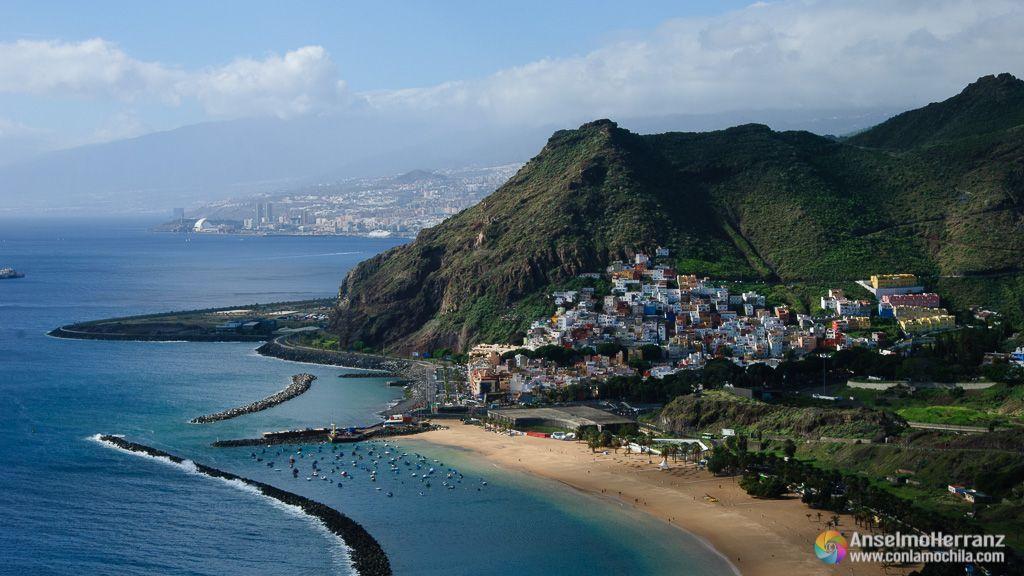 Playa de las Teresitas y San Andres desde Mirador de las Teresitas - Tenerife