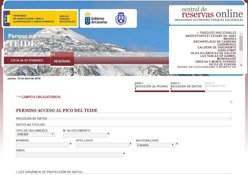 Formulario de recogida de datos personales para el acceso a cumbre del Pico Teide