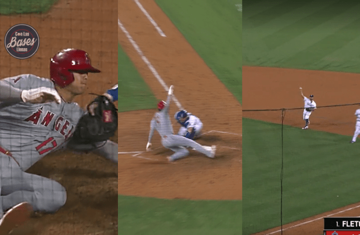 Shohei Ohtani intentó robarse home y Albert Pujols lo pone out