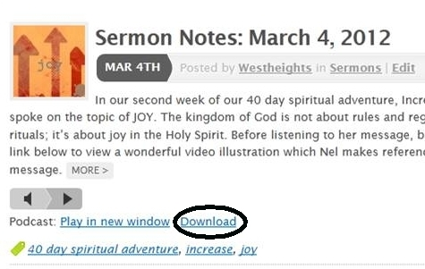 Downloading Audio Recordings of Sermons from this blog