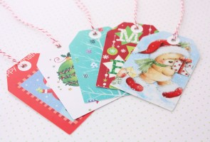Christmas card gift tags