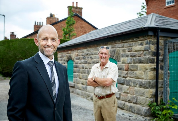 MWjun21-127900 - DWNW - Planning Director Andrew Taylor and Cllr Brindley at the restored coal shed in Chelfo - sm-9cb9fefa