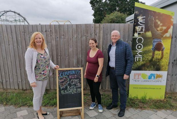 l - r Sue Steer, Becky Harris and Martin Ward at New Lubbesthorpe Community Hub-2eb9fcb3