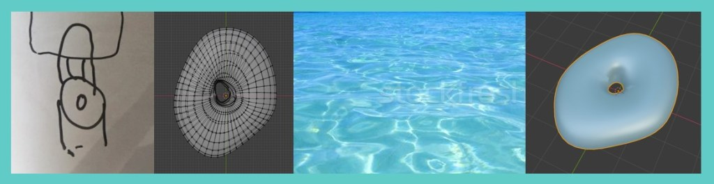 A drawing of a toilet seat and a photograph of water ripples are combined to create unique 3d models in Blender