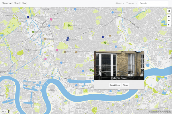 Screenshot showing a map of Newham with coloured pins showing youth services and a window open on Fight for Peace