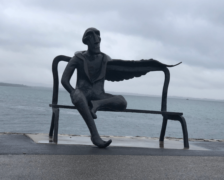 Statue on bench