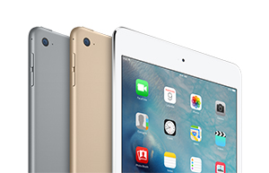 Apple iPad mini 4, available in three colors