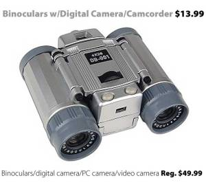 Combination Binoculars / Digital camera-camcorder for $13.99