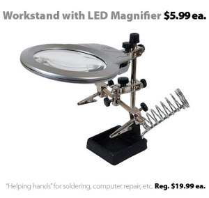 """Helping Hands"" Magnifier/Workstation with LED Lights for $5.99"