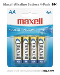 Maxell AA Alkaline Battery 4-Pack for 99 cents