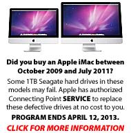 Apple iMac 1TB Seagate Hard Drive Replacement Program