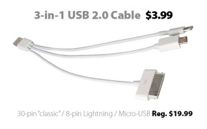 3-in-1 USB 2.0 Cable for $3.99