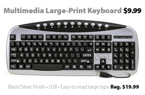104-Key Large-Print Multimedia USB Keyboard for $9.99