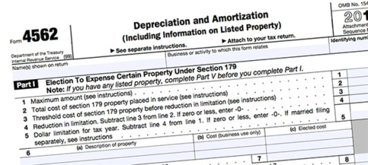 IRS Form 4562 for claiming a Section 179 tax deduction