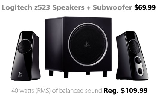 Logitech z523 Stereo Speakers and Subwoofer for $69.99 at Connecting Point