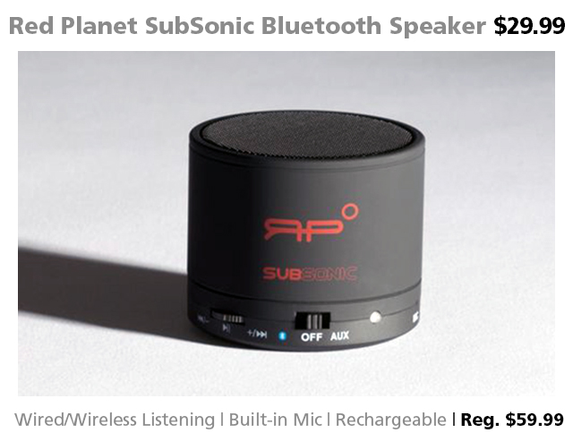 DOTW Deal of the Week Red Planet SubSonic Bluetooth speaker Connecting Point Medford OR
