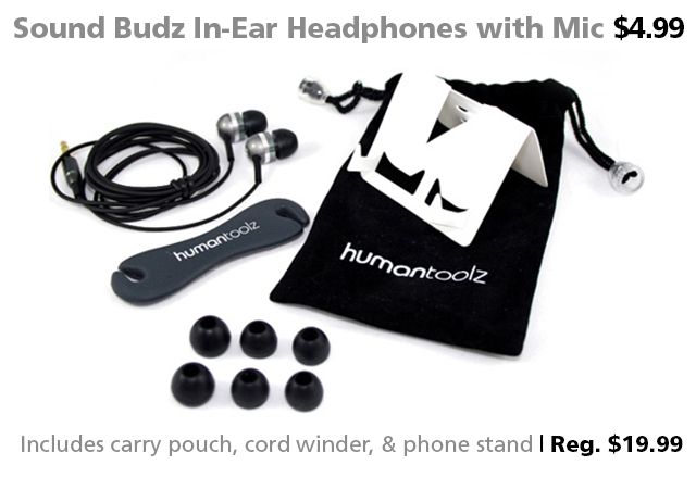 Deal of the Week | June 3, 2016: Sound Budz In-Ear Headphones with Mic $4.99 (reg. $19.99)