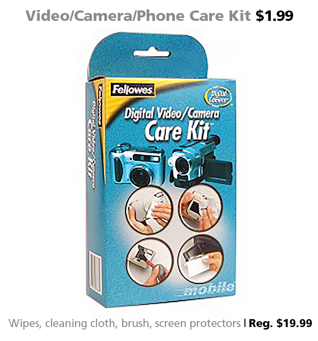 Fellowes Digital Video/Camera/Smartphone Care Kit #97767 $1.99 (reg. $19.99)
