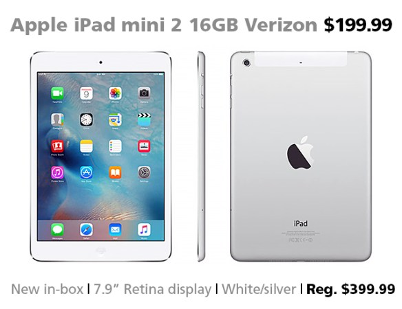 Apple iPad mini 2 16GB Wi-Fi + Verizon $199.99 (reg. $399.99)