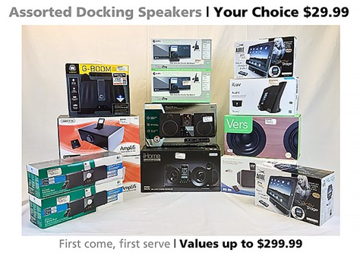 Assorted docking speaker systems on sale for $30 each