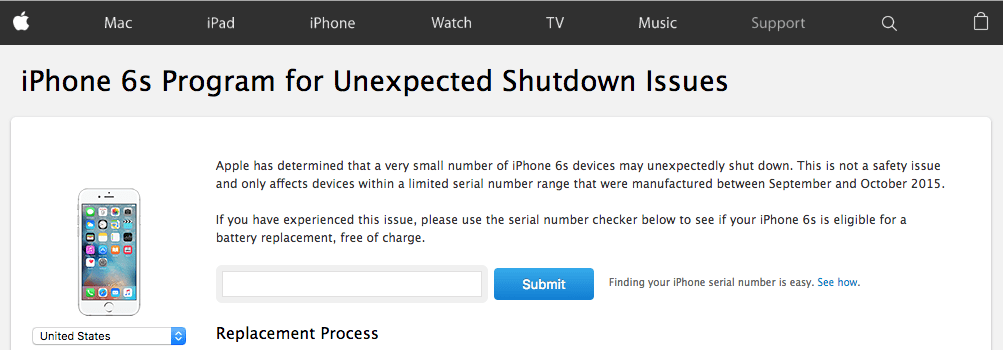 Apple iPhone 6s Program for Unexpected Shutdown Issues
