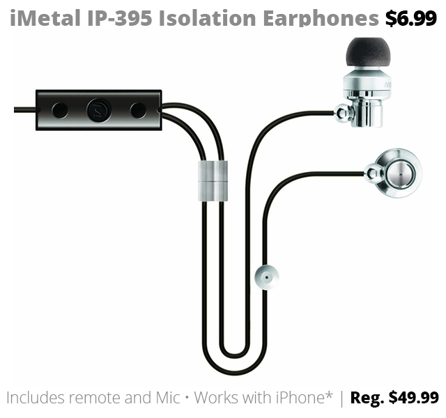 DOTW Deal of the Week iMetal IP-395 Isolation Earphones sale bargain Rogue Valley Medford OR