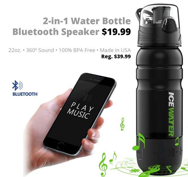 DOTW deal of the week bargain sale weekly water bottle BPA free Bluetooth sound speaker audio health fitness Connecting Point Medford Oregon Rogue Valley