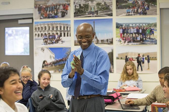 Dr. Murutamanga Louis Kabahita teaching French at Potomac's Intermediate School.