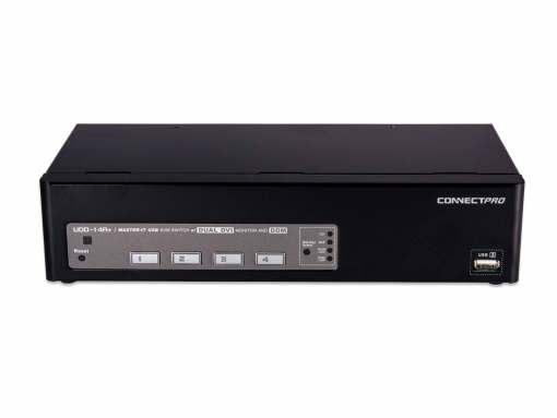 UDD-14A+- 4-port USB Dual DVI KVM switch w/ DDM & multi-hotkey