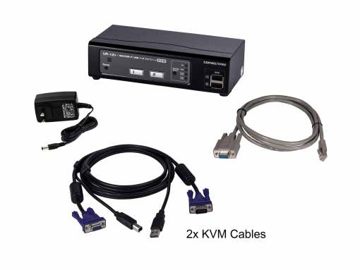 UR-12+2-port USB/VGA KVM with DDM technology