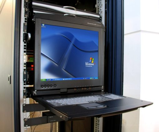 Rack console with integrated KVM switch