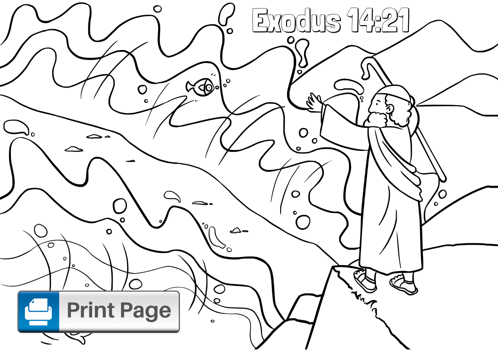Free Moses Parting The Red Sea Coloring Pages Connectus