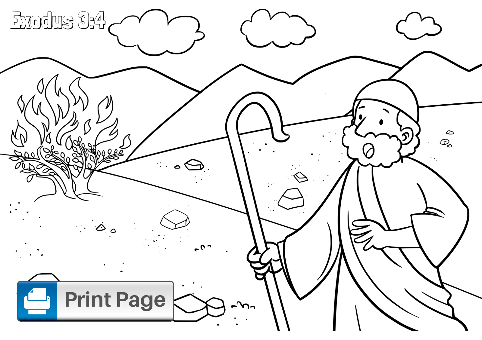 Free Moses And The Burning Bush Coloring Pages Connectus