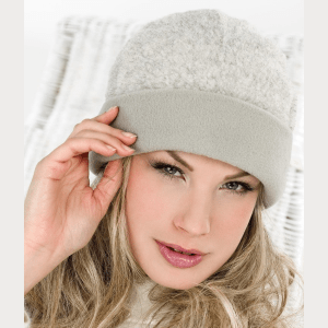 Wool in pile hat with fleece turn up
