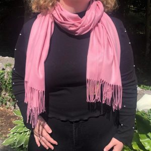 Cashmere Blend Wrap by Connemara Weavers in Baby Pink Wrapped around Neck