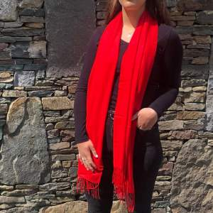 Cashmere Blend Wrap by Connemara Weavers in Red Open