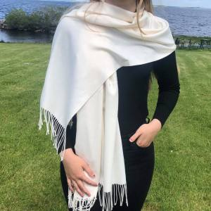 Cashmere Blend Wrap by Connemara Weavers in White wrapped around shoulder