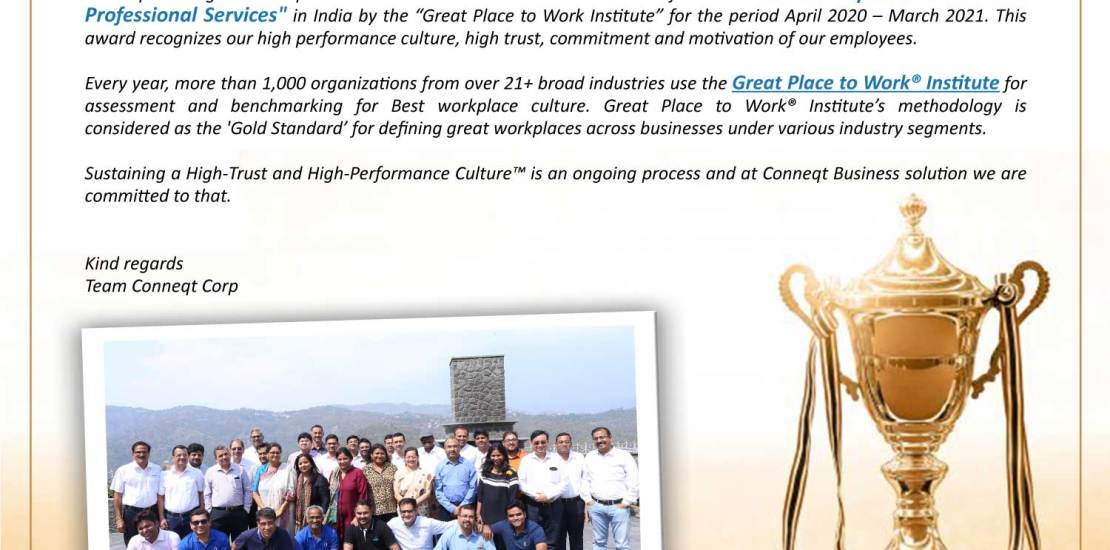 Conneqtcorp team message announcing about the certification as the best workplaces to work in professional services.