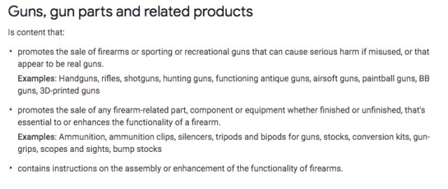 adsense guns 2A constitution law google ads google guns
