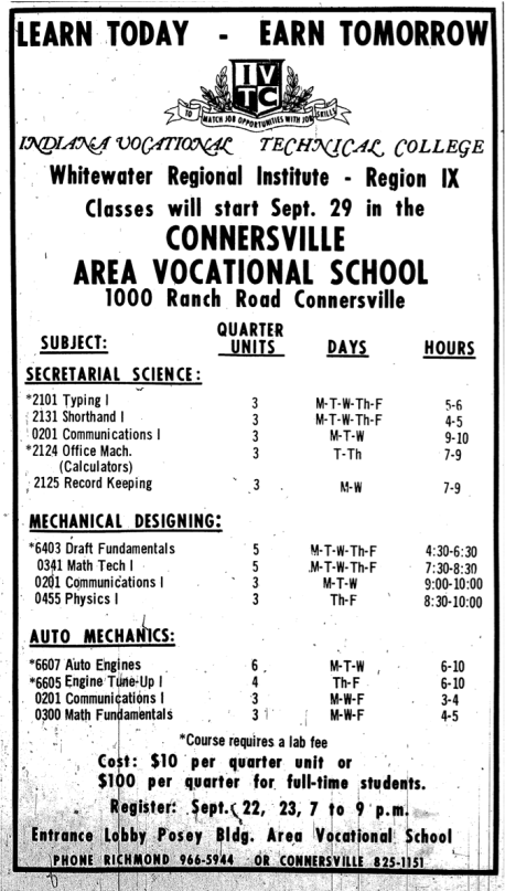 An advertisement for vocational night courses, offered to adults throughout the region, published in The Connersville News-Examiner on September 18, 1969.