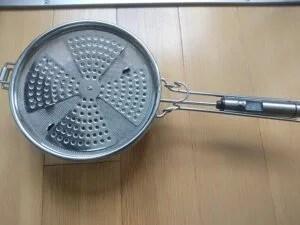 ダンパー、温度計付き手網焙煎器