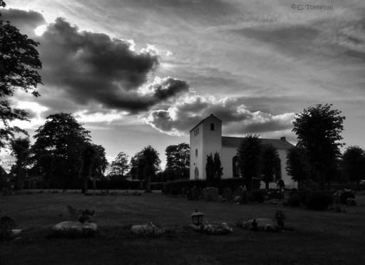 Stillhet kyrkan svartvit