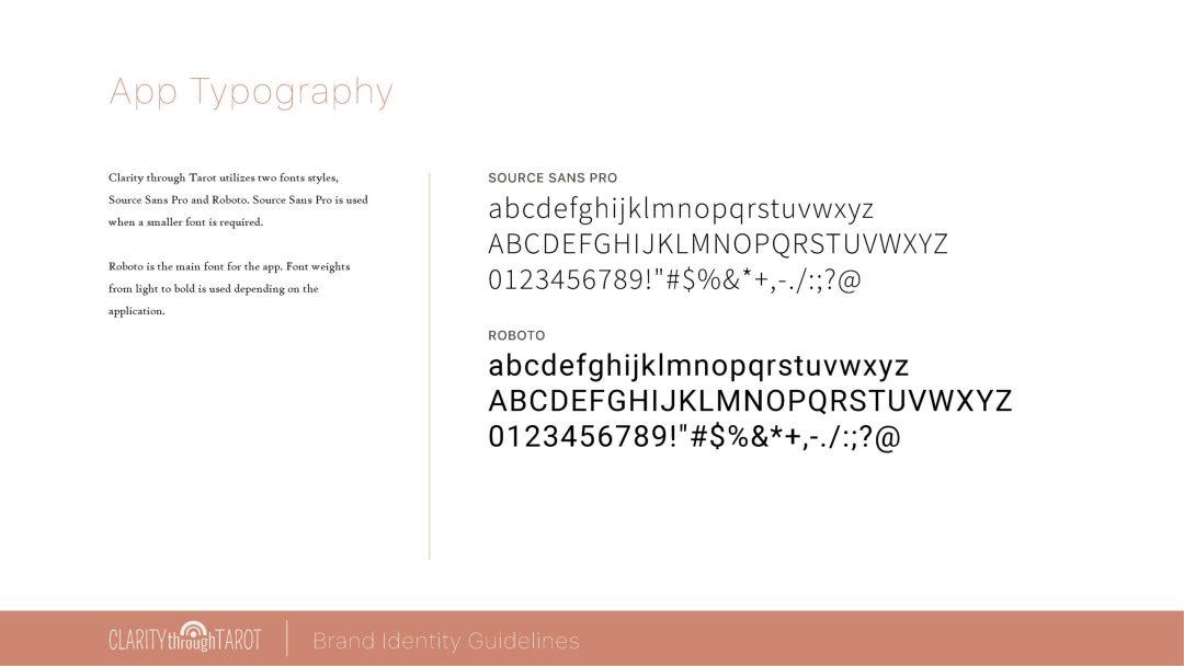 Clarity Through Tarot Design System App Fonts