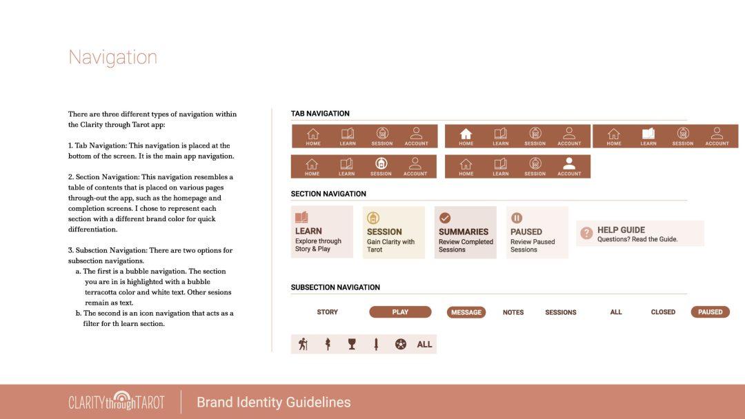 Clarity Through Tarot Design System Navigation