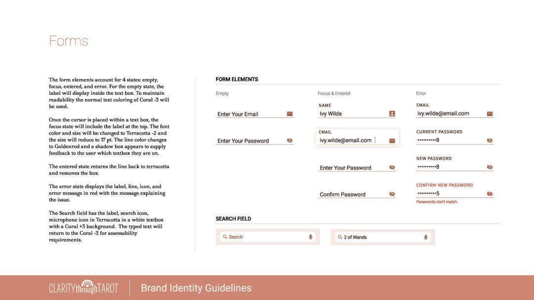 Clarity Through Tarot Design System Forms